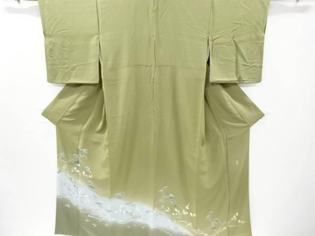作家物 手描き友禅松竹梅に流水模様一つ紋色留袖【リサイクル】【中古】
