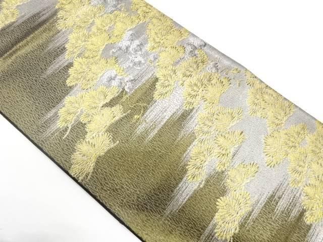 霞に松模様織出し袋帯【リサイクル】【中古】