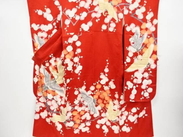 群鶴に枝梅模様刺繍振袖・袋帯セット(重ね衿付き)【リサイクル】【中古】