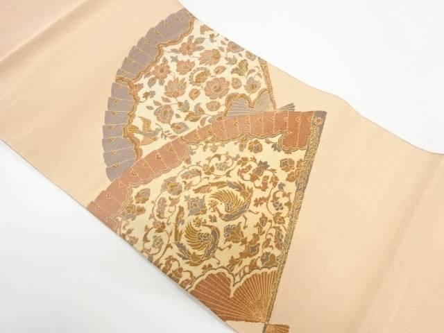 綴れ檜扇に花鳥模様織出し袋帯【リサイクル】【中古】