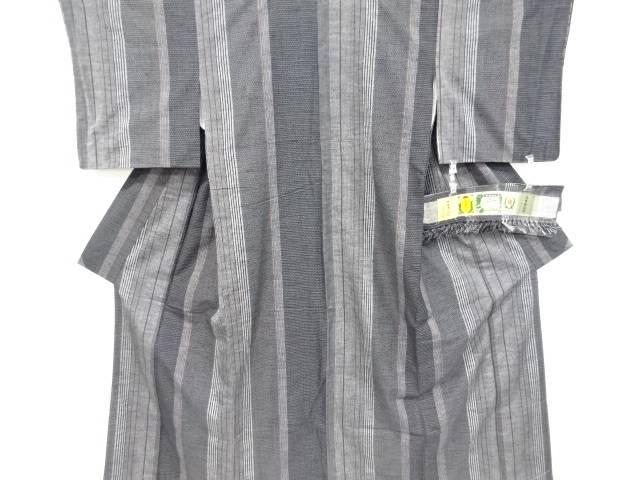 未使用品 縞織り出し本真綿結城紬80亀甲着物【リサイクル】【中古】