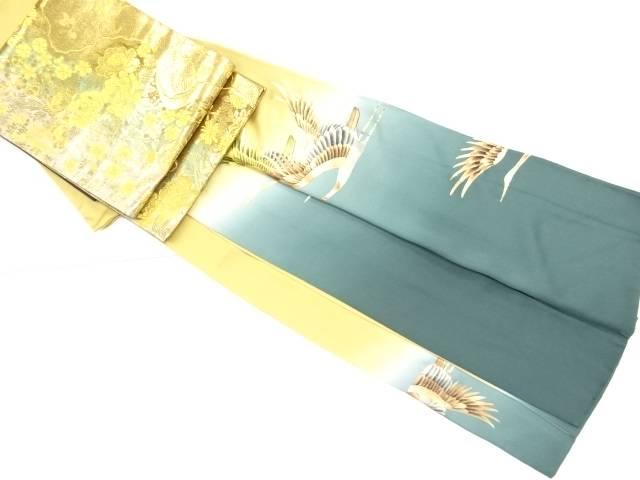 作家物 金彩群鶴模様一つ紋色留袖・袋帯セット【リサイクル】【中古】