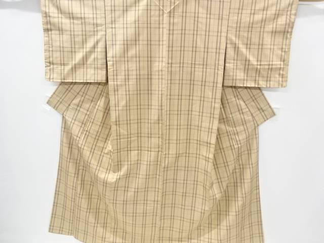 未使用品 仕立て上がり 格子織り出し米沢紬着物