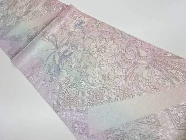 プラチナ箔鳳凰に花唐草模様織出し袋帯【リサイクル】【中古】
