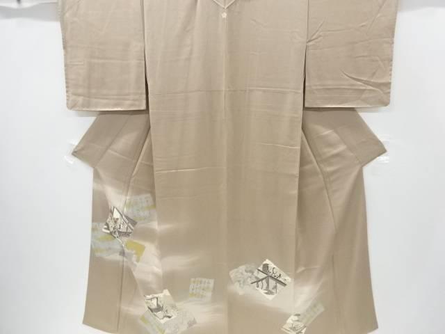未使用品 手描き友禅破れ色紙に和歌・平安人物模様一つ紋色留袖【リサイクル】【中古】
