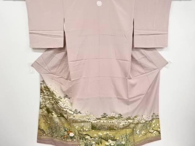 金彩屏風に花鳥・時代人物・風景模様刺繍一つ紋色留袖【リサイクル】【中古】
