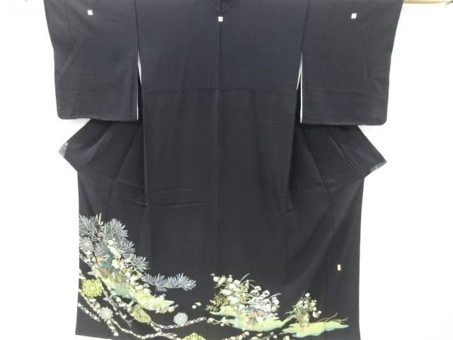作家物 手描き友禅花籠に鳥模様留袖(比翼付き)【リサイクル】【中古】