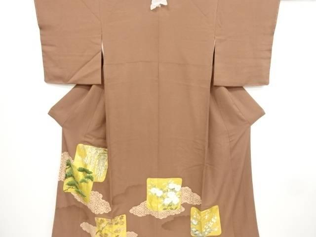 金彩色紙に松・藤・楓模様刺繍一つ紋色留袖(比翼付き)【リサイクル】【中古】