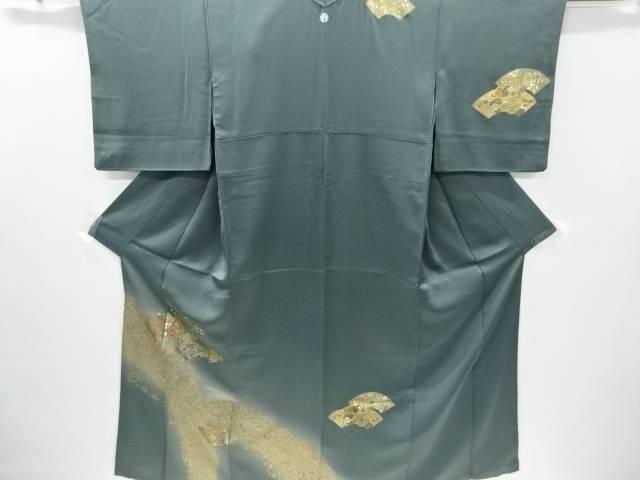 金彩地紙に雪芝椿模様刺繍一つ紋訪問着【リサイクル】【中古】