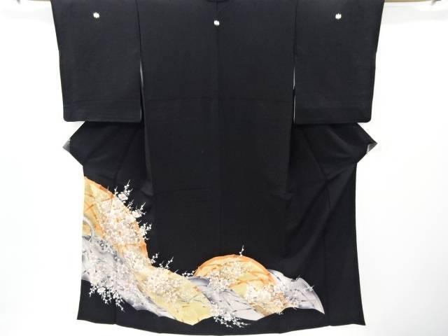 蛇籠に枝梅模様刺繍留袖(比翼付き)【リサイクル】【中古】