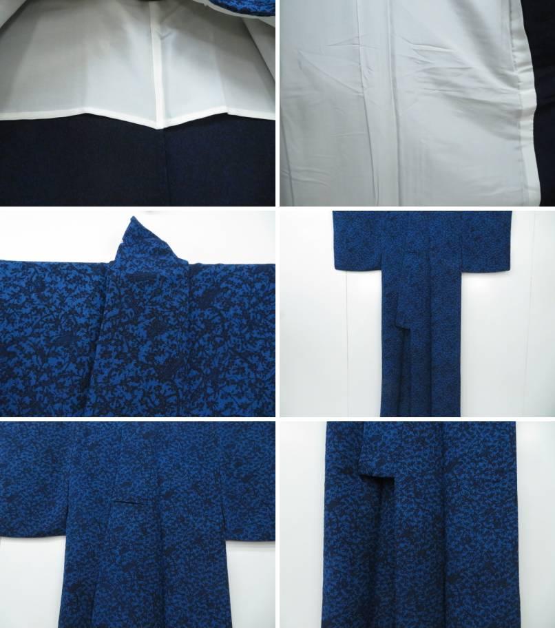 小紋 単衣 縮緬 小槌と枝花文 着物 リサイクルkiZXuPOT