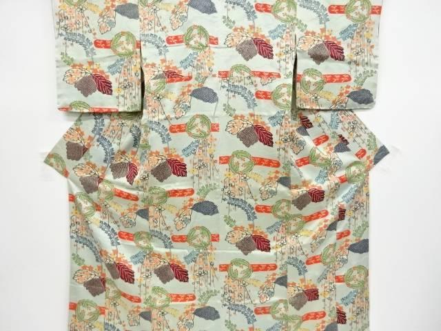 本場琉球紅型松葉に桐模様付け下げ着物【リサイクル】【中古】