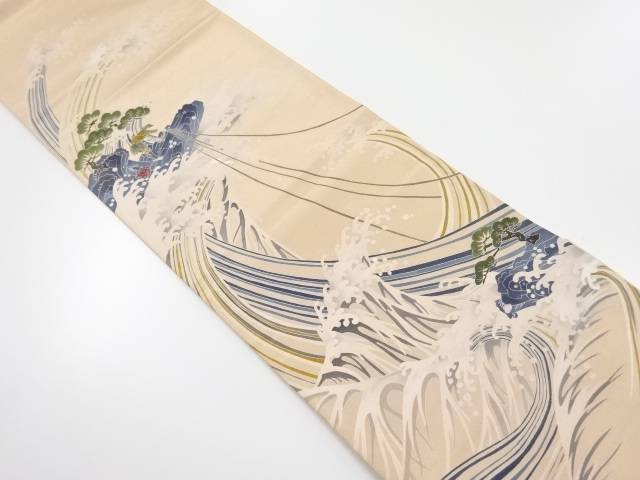 紙芸手描き富嶽三十六景模様袋帯【リサイクル】【中古】