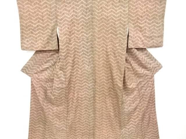 本絞り変わり横段模様手織り紬着物【リサイクル】【中古】