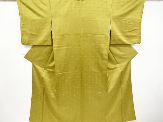 若松菱模様織り出し一つ紋色無地着物【リサイクル】【中古】