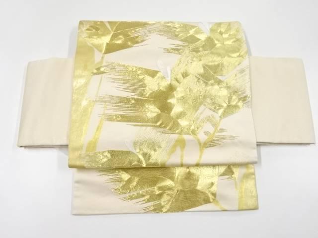 金糸花模様刺繍作り帯【リサイクル】【中古】