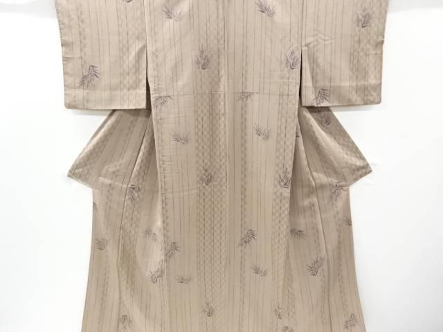コシノヒロコ 竹笹模様手織り紬着物【リサイクル】【中古】