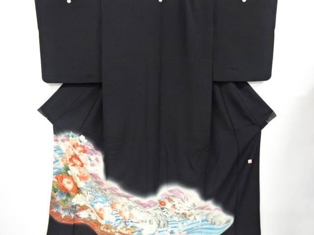 作家物 鶴に花模様刺繍留袖【リサイクル】【中古】