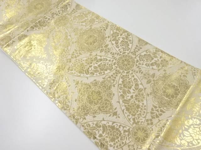純金箔24K華紋更紗模様織出し袋帯【リサイクル】【中古】