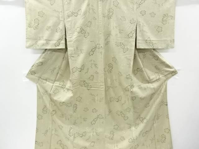 コシノヒロコ 瓢箪に竹笹模様手織り縦節紬単衣着物【リサイクル】【中古】