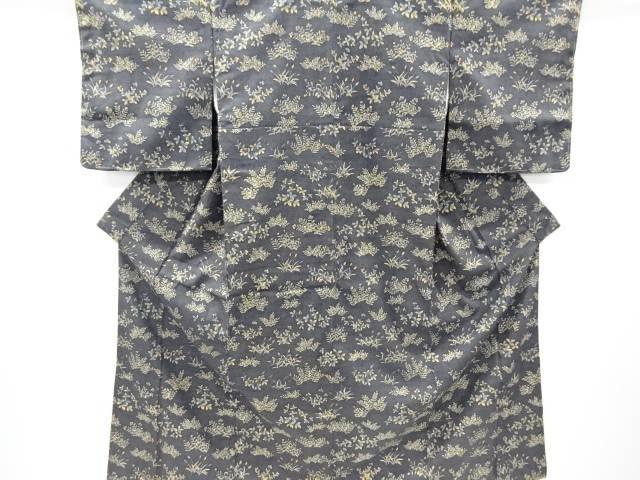 草花模様手織り真綿紬付け下げ着物【リサイクル】【中古】