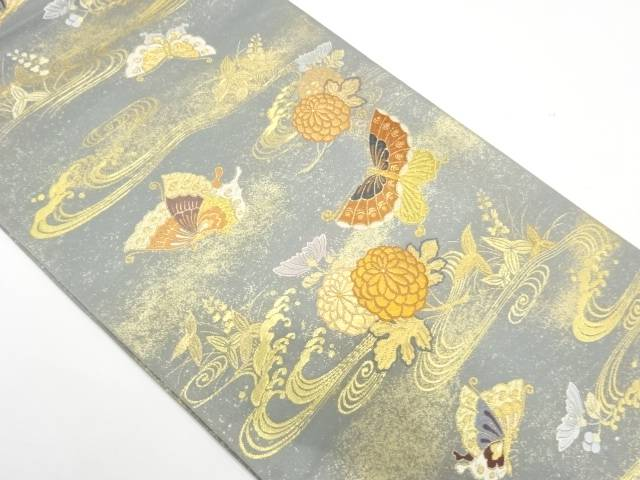 流水に蝶・菊模様織出し袋帯【リサイクル】【中古】