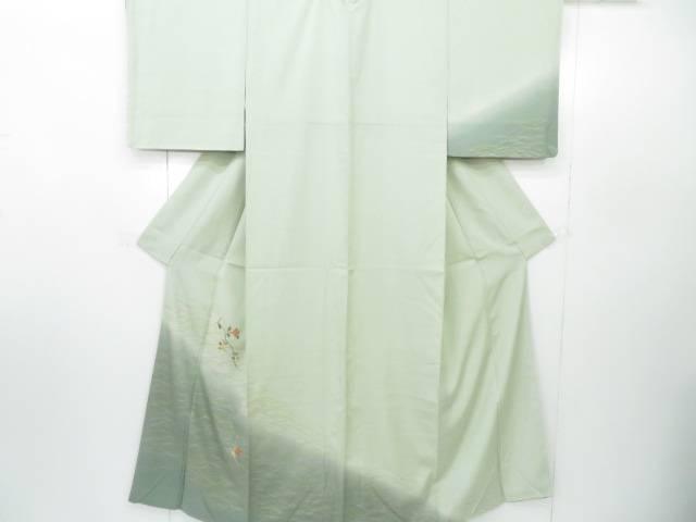 付下げ 刺繍入り 芝草に椿文 着物【リサイクル】【中古】
