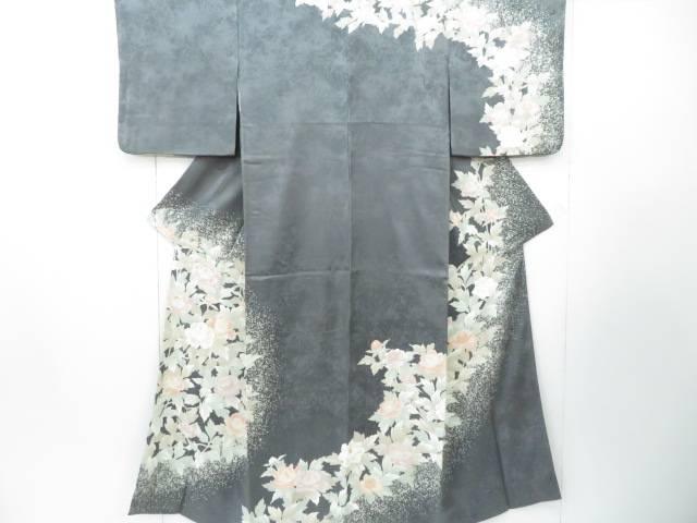 訪問着 地紋入り 金糸刺繍 牡丹文 着物【リサイクル】【中古】