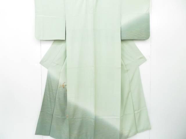 付下げ 刺繍 芝草に枝梅と椿文 着物【リサイクル】【中古】