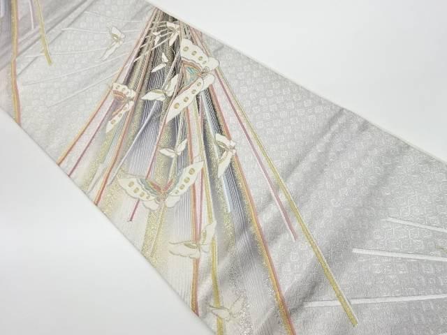 佐賀錦斜線に蝶模様織出し袋帯【リサイクル】【中古】