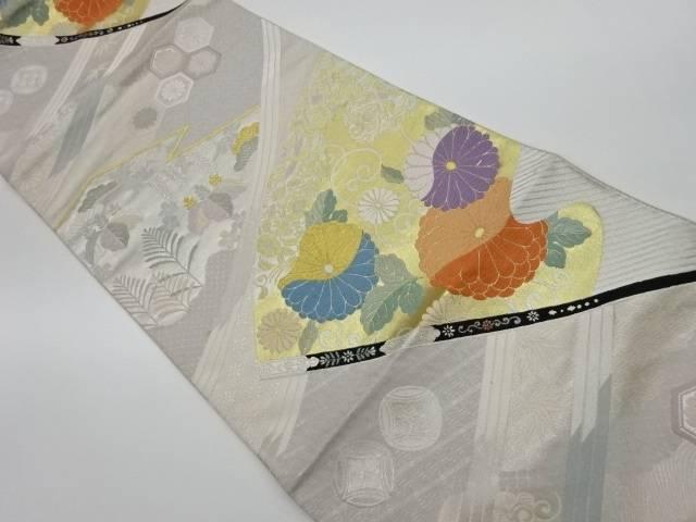 未使用品 小袖調桃山菊織出し袋帯【リサイクル】【中古】