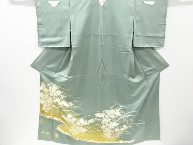 未使用品 仕立て上がり 金彩菊模様刺繍三つ紋色留袖