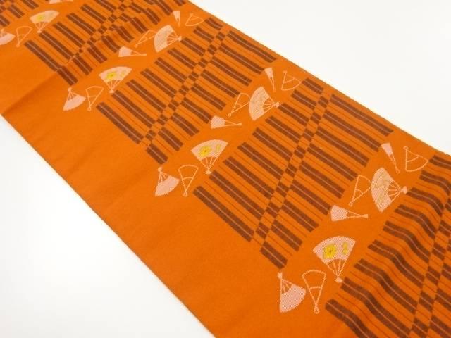 合計3980円以上の購入で送料無料 早割クーポン 変わり縞に扇模様織出し名古屋帯 リサイクル 中古 おすすめ