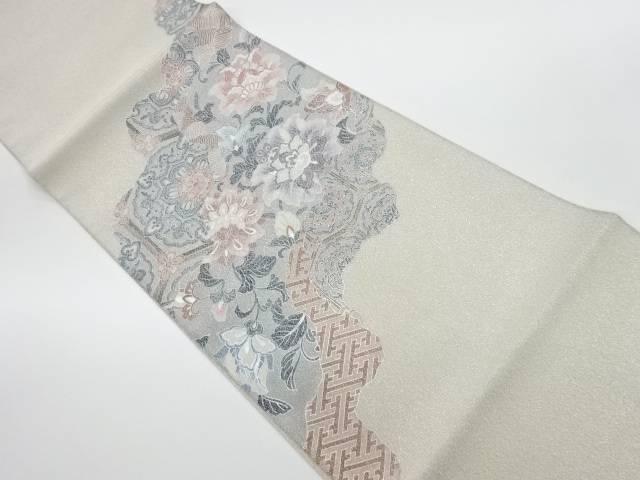 未使用品 綴れ銀彩蜀江文に花々模様袋帯【リサイクル】【中古】