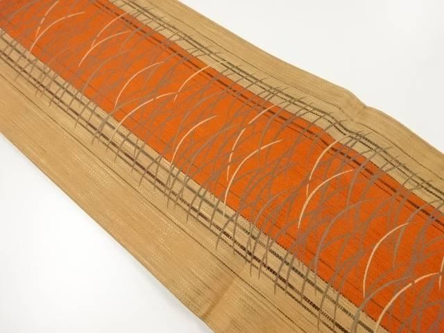 芝草模様織出し袋帯【リサイクル】【中古】