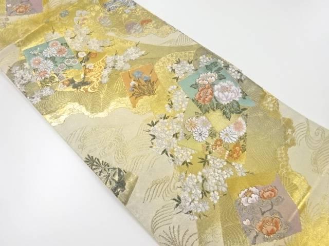 本金色紙に草花模様織出し袋帯【リサイクル】【中古】