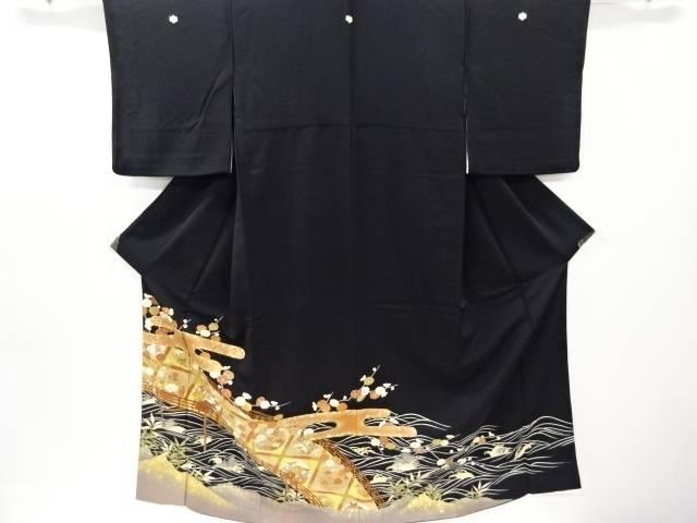 金彩ヱ霞に橋・松竹梅模様刺繍留袖(比翼付き)【リサイクル】【中古】