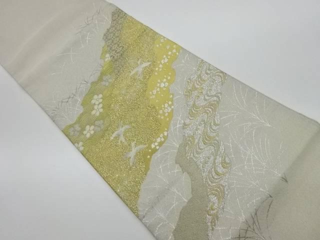 プラチナ箔綴れ道長取りに花鳥模様織出し袋帯【リサイクル】【中古】