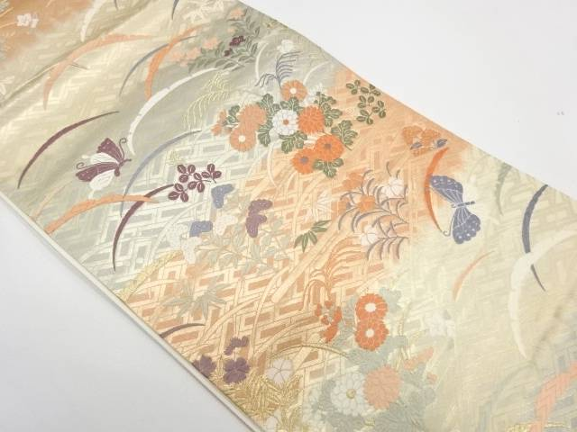 合計3980円以上の購入で送料無料 蝶に草花模様織出し袋帯 好評受付中 中古 贈与 リサイクル