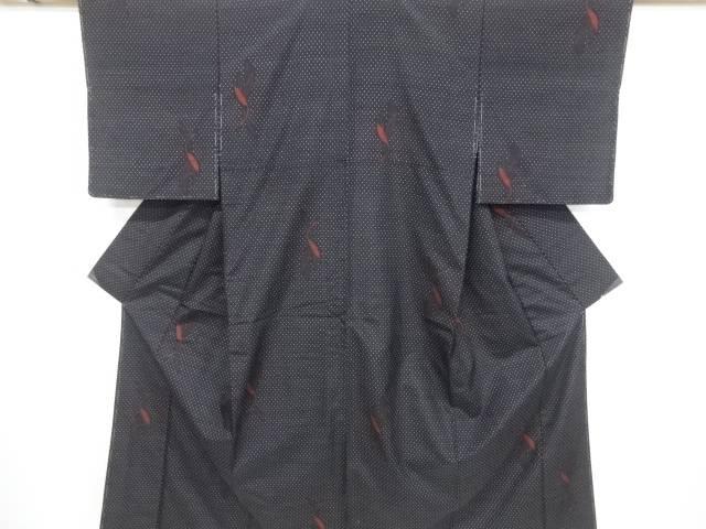 未使用品 仕立て上がり 抽象鶴模様織り出し手織り節紬着物