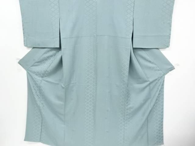 未使用品 仕立て上がり 縞に古典柄・雪輪模様織り出し一つ紋色無地着物