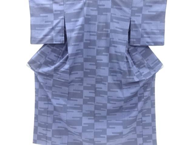 ヱ霞模様織り出し本塩沢100亀甲単衣着物【リサイクル】【中古】