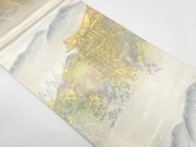 本金箔古都名園集模様織出し袋帯【リサイクル】【中古】