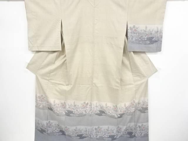 霞に草花模様織り出し手織り真綿紬単衣訪問着【リサイクル】【中古】