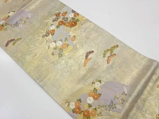 地紙に松笹・草花模様織出し袋帯【リサイクル】【中古】