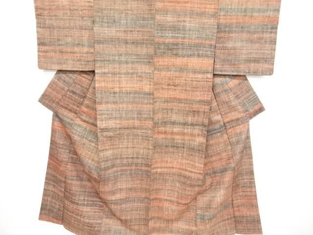 未使用品 草木染郡上紬横段織り出し着物【リサイクル】【中古】