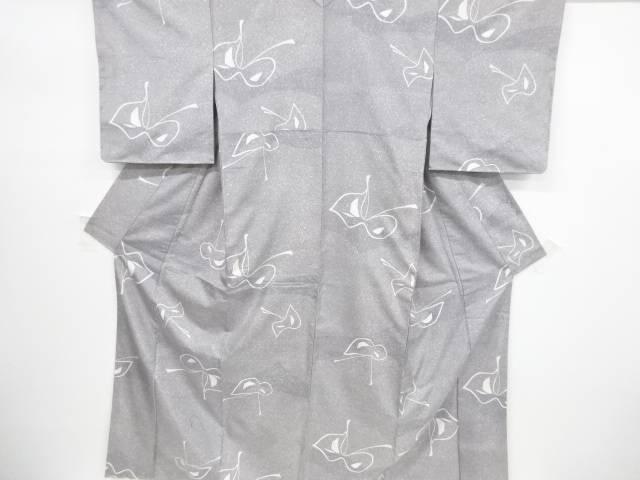 未使用品 仕立て上がり 無形文化財 本場牛首紬抽象蝶模様着物