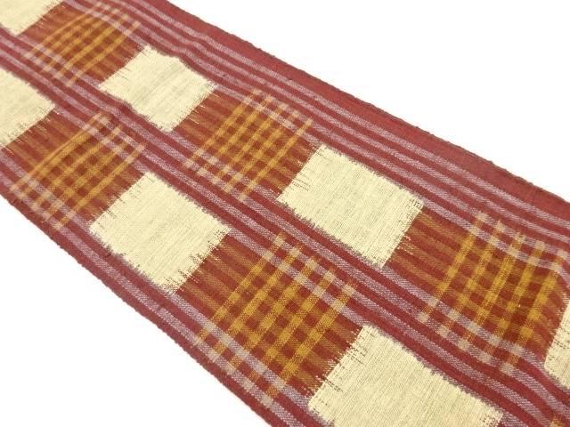 手織り真綿紬縞に変わり市松模様織出し名古屋帯【リサイクル】【中古】