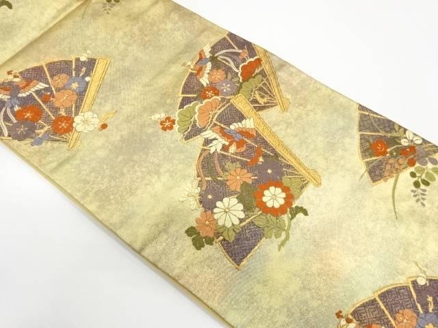檜扇に草花模様織出し袋帯【リサイクル】【中古】