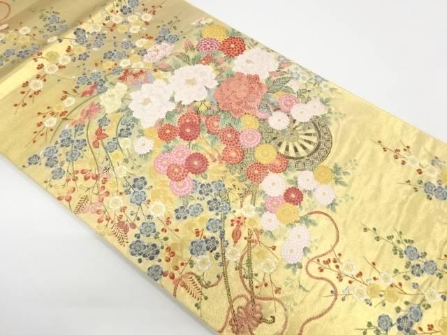 花車模様織出し袋帯【リサイクル】【中古】
